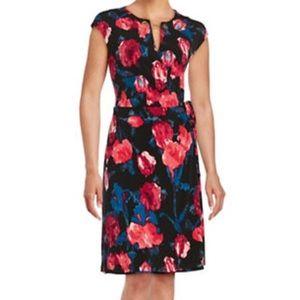 Ivanka Trump Black Floral Faux Wrap Dress Jersey
